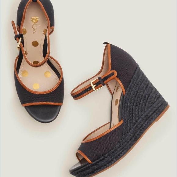 New Boden Philippa Espadrille Wedges Navy Sandals